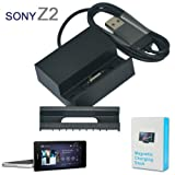 No1accessory CM1901 Magnetic desktop SYNC / Charging USB Cradle dock docking station battery charger stand with Detachable Case adapter and built USB cable for Sony Xperia Z2 (compatible without or with a slim-fit case)