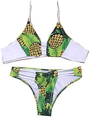 Qumei Mujeres ata para arriba Bottom Padding piña bikini Set traje de baño