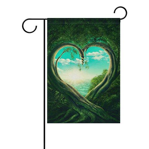 Naanle Paysage avec cœur de Saint Valentin Amour Tree Long Drapeau de Jardin Polyester 30,5 x 45,7 cm Décoration de Jardin Fête Mariage Maison Décoration Jardin 28 x 40 inches Multi 3