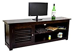 TimberTaste DYNA Solid Wood TV Entertainment Cabinet Unit (Dark Walnut Finish)