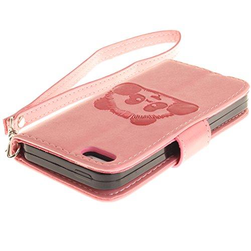MOONCASE IPhone 5 / 5S / iPhone SE Coque, Panda Relief Motif Protection en PU Cuir Dragonne Sangle Housse Béquille Etui à Rabat TPU Case Cover avec Porte-cartes Fentes Portefeuille Béquille Fermeture  Rose