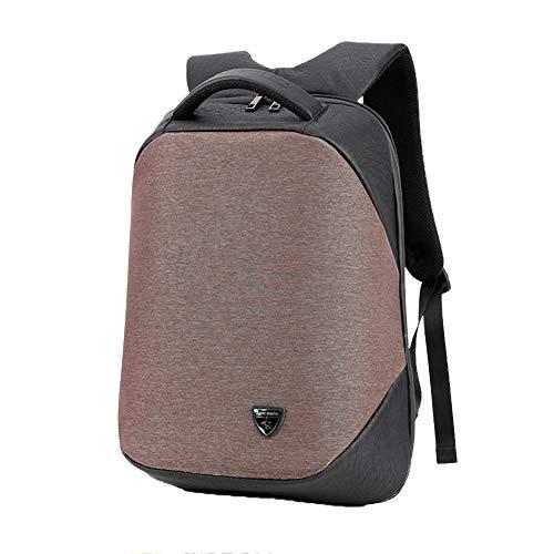 LHJ 15,6-Zoll-Laptop-Schultertasche USB-ladeanschluss Wasserdichter Stoff-diebstahlschutz-Rucksack Outdoor-Rucksack Mit Großer Kapazität,Coffee,15.6inches