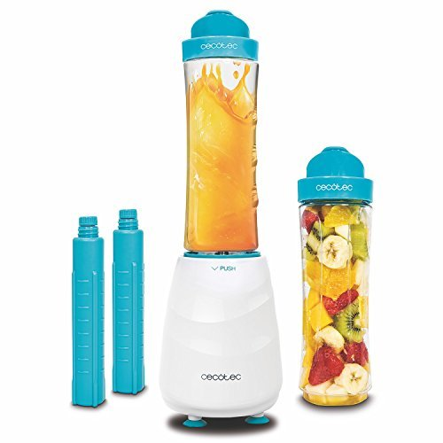 Smoothie maker, blender socket individual portable with blades Titanium y 350 W. dos vessels of 600 ml free BPA y dos tubes refrigerators. Pica ice. Power Titanium One of Cecotec.