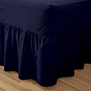 SUNSHINE COMFORTS® PLAIN DYED 50:50 POLY COTTON BED BASE VALANCE SHEET NAVY BLUE: DOUBLE SIZE BED