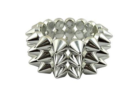 CyberloxShop® Metallic Silver Cyber Spike Bracelet Spiked Studded Rock Goth Punk Emo Candy Rave