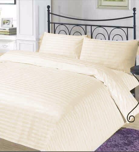 Double____cream____luxury 100% ägyptische Baumwolle Fadendichte 400 Streifen Satin Bettwäsche-Set, Bettbezug mit Kopfkissenbezügen) -