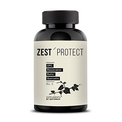 zest'protect OPC Traubenkernextrakt Kapseln | Clever Kombiniert: OPC (465mg, 95 Prozent) plus Rutin, Quercetin und Resveratrol. 120 Kapseln - 4 Monatsvorrat (Quercetin 50 Kapseln)