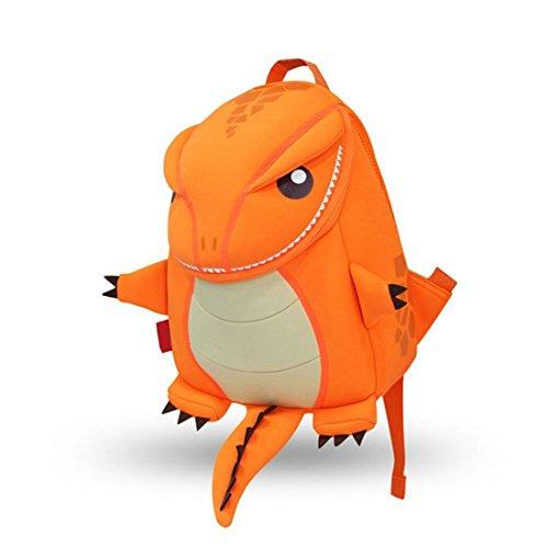Drache Rucksack (Yisibo Kinder Rucksäcke Kindergarten Vorschule Kleinkind Jungen / Mädchen Rucksack 3D Tier Tasche Schultaschen Rucksack Kind Niedliche Kindergarten Rucksack, Age1-6(Drachen-Orange))
