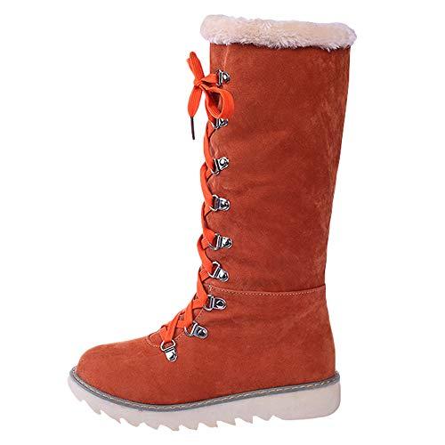 Watopi Damenschuhe Winter warme hohe Stiefel Schnürschuhe Knie nackte Stiefel rutschfeste runde Kopf Schneeschuhe