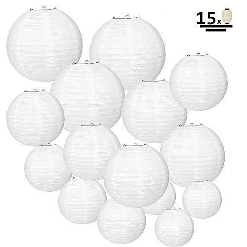 Papierlaterne,JuguHoovi 15 Stück Weiße Papier Laterne Lampions Rund Lampenschirm für Hochzeit Geburtstag Gartenparty Dekoration (Verschiedene Größen)