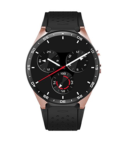 KW88 3G Smartwatch Intelligente Orologio, contapassi cardiaca GPS Rate Monitor, Android 5.1 OS, Quad Core sostegno 2.0MP Bluetooth SIM WiFi, Google Map, Google Play (Oro)