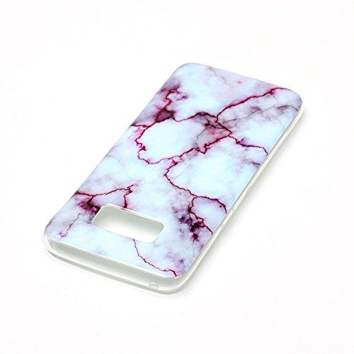 Coque Huawei P8 Lite (5,0 Pouces), Meet de Téléphone Case (Design marbre) Slim TPU Silicone Case Cover Housse Etui pour Huawei P8 Lite (5,0 Pouces) - blue sea rouge