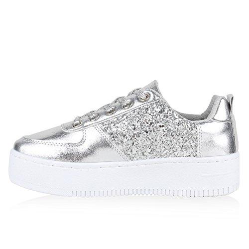 plateau sneakers damen sneaker low glitzer metallic schuhe. Black Bedroom Furniture Sets. Home Design Ideas