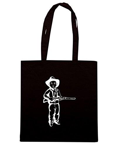 T-Shirtshock - Borsa Shopping FUN1056 cowboy kids diecut vinyl decal sticker 4 42114 Nero