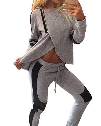 Donna Tuta Da Ginnastica Tuta 2 Pezzi con Cappuccio Stile Casual Tuta Sportiva Training Set Camicetta + Pantaloni Grigio XL