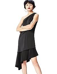 FIND Damen Midi-Kleid mit Asymmetrischer Schulterpartie