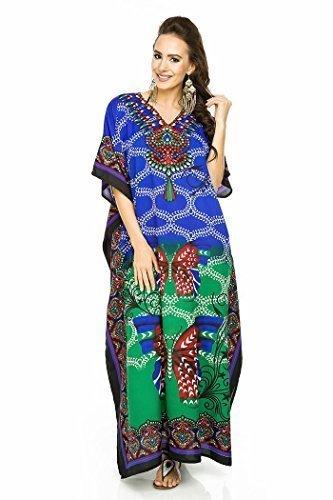19071-Purple, 18-22 Miss Lavish London Women Kaftan Tunic Kimono Free Size Long Maxi Party Dress for Loungewear Holidays Nightwear Beach Everyday Cover Up