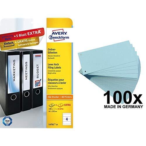 Avery Zweckform L4761-25 Ordnerrücken Etiketten (A4, 120 Rückenschilder, breit/kurz, selbstklebend, blickdicht, 61 x 192 mm) 30 Blatt, weiß & Falken Karton-Trennstreifen 10,5 x 24 cm 100er Pack blau
