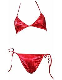 iEFiEL Ropa Interior Conjunto de Lencería de Charol Sujetador + Braguita Bikini de Tres Puntos para