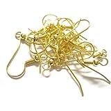 Golden Finish Metal Jewellery Making Earring Hooks Pack of 100 Pcs (Gold)