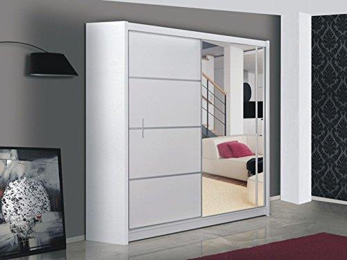 Schiebetürenschrank - Kleiderschrank - Schwebetürenschrank WIST in Weiß, mit Spiegel, Breite: 150cm/180cm/203cm/250cm