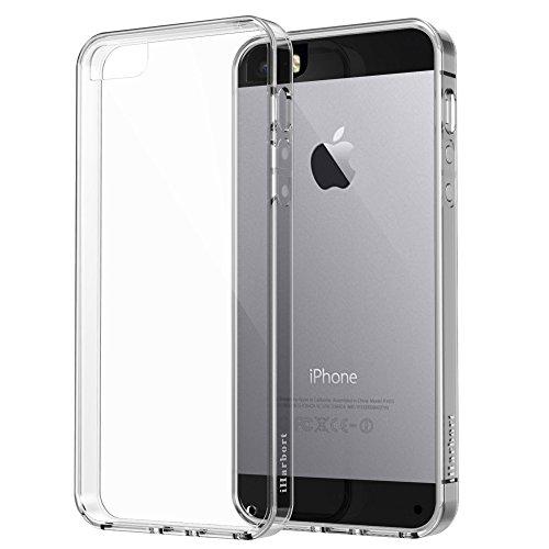 iPhone 5 5S SE Hülle - iHarbort Weich Gelee Gel TPU Silikon Schutzhülle iPhone 5 5S SE Hülle Case Cover transparent mit Displayschutzfolie,transparent transparent