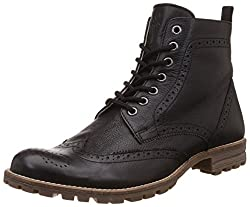 United Colors of Benetton Mens Black (901) Leather Boots - 6.5 UK/India (40 EU)