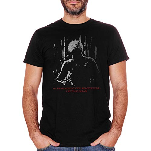 T-Shirt Blade Runner Movie - Tears In Rain Monologue - Film - Herren-M-Schwarz (Couch Runner)