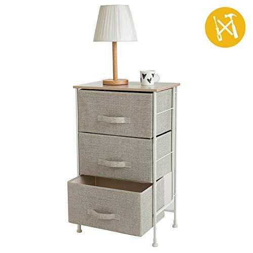 Leaf House Meuble de Rangement 3 tiroirs pour la Chambre à Coucher, Chambre d'enfants, Salle de Bain-Installation Facile sans Outils-Beige