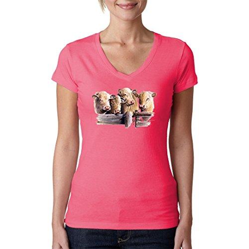 Fun Girlie V-Neck Shirt - Charolais Rinder by Im-Shirt Light-Pink