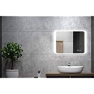 ALLDREI Badspiegel mit Licht Badezimmerspiegel mit Digitale Uhr, LED Beleuchtung, Waagerecht Montage 80 x 60 cm, Touch Schalter