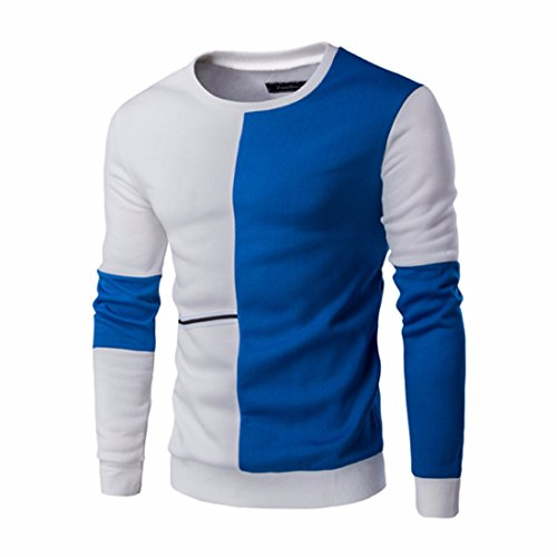 Men's Patchwork Slim Fit O-Neck Pullovers Casual Sweatshirt blue white
