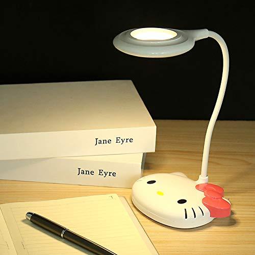 Orange Gänge der Note drei, die den Tischlampen-USB aufladen lernen orange Lesetischlampen-rote nette Katze des hellen Augenkursteilnehmers verdunkeln
