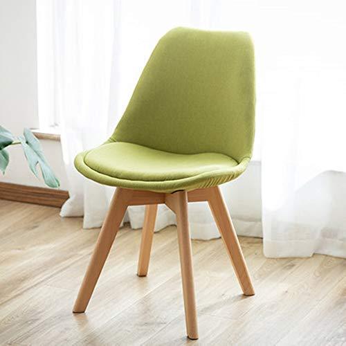 Guolipin Holz Retro Stuhl Wohnzimmer-Stuhl mit Gewebe-Kissen-festem hölzernem Barhocker für Restaurant-Café-Küche (Farbe : Grün, Größe : Free Size) (Wohnzimmer-gewebe-stühle)