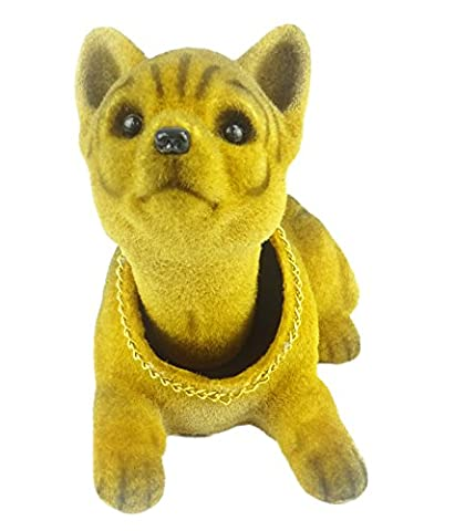 Shaking Head Bobble Head Dog Doll With Gold Chain - Dashboard Car Interior Accessories / Novelty Office