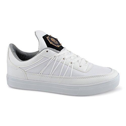 FiveSix Herren Sneaker Sportschuhe Laufschuhe Freizeitschuhe Mehrfarbig Schnürschuhe Low-Top Schuhe Weiß