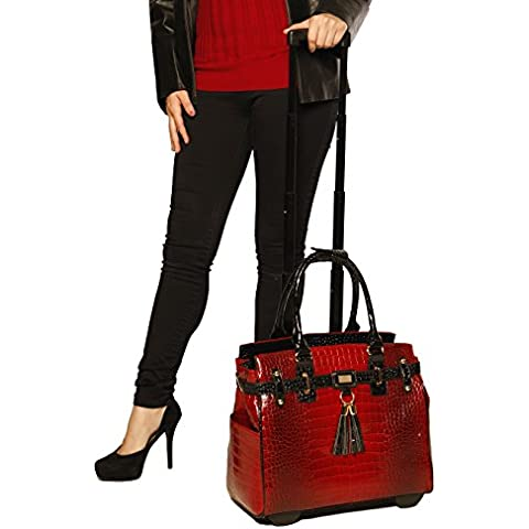 Rosso e Nero Coccodrillo Rolling iPad Tablet o Laptop Borsa Borsone Trolley
