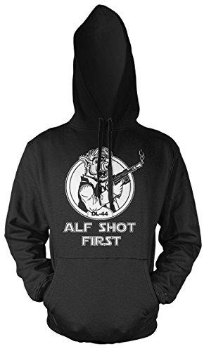Alf Shot First Männer und Herren Kapuzenpullover | Vintage Star Wars Han Solo Geschenk (S, ()