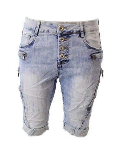 Moda Italy Damen Short Bermuda kurze Jeans ZIP washed Washed