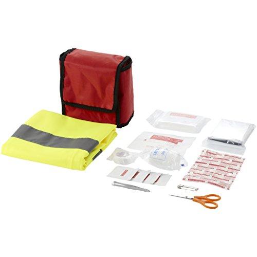 Bullet Erste-Hilfe-Set und professionelle Warnweste, 18-teiliges Set (14 x 14 x 7 cm) (Rot)