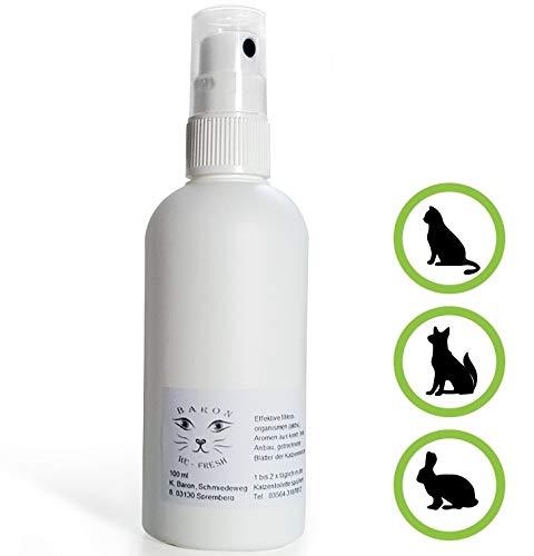 Geruchsneutralisierer-Spray für Katzenklo von Baron's - Natürlicher Geruchskiller gegen Urin-Geruch - Einfach anwendbarer Reiniger in 100 ml Pumpflasche - Für Katzenurin Teppich-reiniger