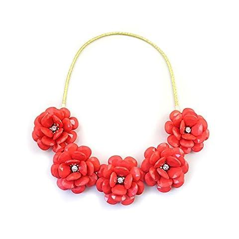 Europa und Wind Texturen Mode blinkende Halskette/ drei dimensionale Blume elastisches Seil Halskette-A