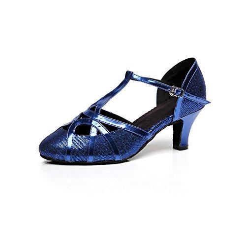 Minitoo qj6133Damen Geschlossen Zehen High Heel PU Leder Glitzer Salsa Tango Ballsaal Latin t-strap Dance Schuhe, Blau Blue-6cm Heel,38 EU/5.5 UK