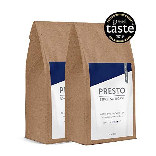 Presto gemahlener Kaffee - Mittlerer gerösteter Espresso gemahlener Kaffee - 100% Arabica - 1Kg (2 x 500g)