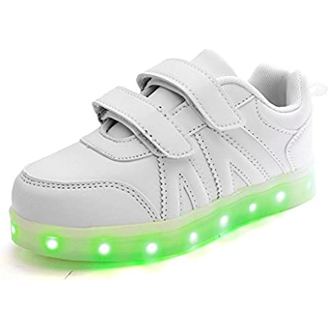 DoGeek Zapatos Led Niñas Deortivos Para 7 Color USB Carga LED Luz Glow USB Flashing Zapatillas