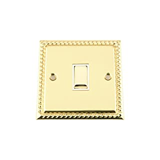 Single Light Switch 1 Gang - Georgian - Polished Brass - White Insert - Metal Rocker Switch - 1 Gang 2 Way 10 Amp