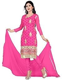 Jheenu Women's Chanderi Embroideri unstitched Straight Dress material(AMAYA01,Pink)