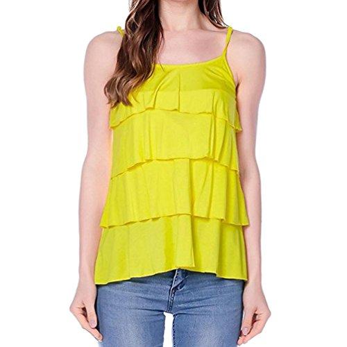OYSOHE Mutterschaft T-Shirt, Neueste Damen Still Wrap Top Cap Sleeveless Doppelschicht Bluse T-Shirt (S, 3-Gelb) (Vogue Rock Neckholder)