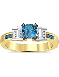 Silvernshine 1.35Ct Round & Buget Cut Aquamarine Sim Dimoands 14K Yellow Gold PL Engagement Ring