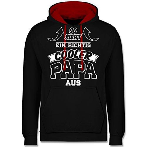 - So Sieht EIN richtig Cooler Papa aus Pfeile - M - Schwarz/Rot - JH003 - Kontrast Hoodie ()